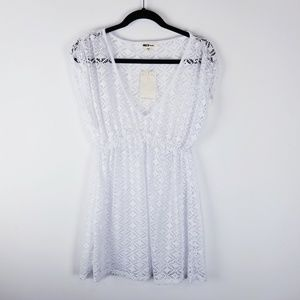 Mike swim nwt swim suit cover up white eyelet lace